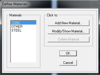 مواد CONC را انتخاب و روی Modify/Show Material... کلیک کنید.