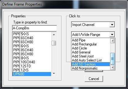 ساختن یک مقطع در ETABS وقتی در لیست موجود نیست