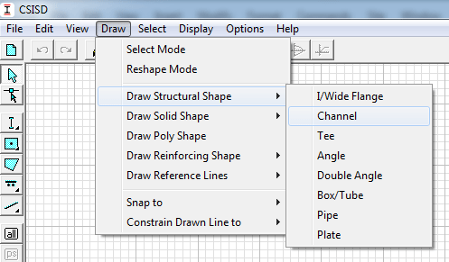 از Draw>draw Structural Shape ناودانی(Channel) را انتخاب و دو بار روی صفحه کلیک کنید.